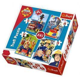 TREFL Puzzle pro děti 4v1 - Požárník Sam (35 - 70 dílků)