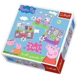 TREFL Puzzle pro děti 3v1  - Prasátko Pepina: Zábava ve škole 20,36,50 dílků