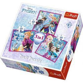TREFL Puzzle Ledové království: Zimní magie 3v1 (20,36,50 dílků)