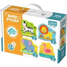 TREFL Baby puzzle Zvířata na safari 4v1 (3, 4, 5 a 6 dílků)