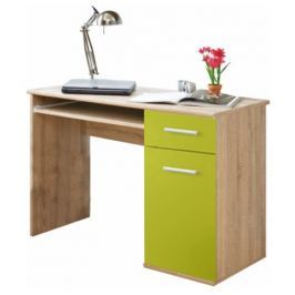 Tempo Kondela PC stůl, dub sonoma / zelená, EMIO Typ 6