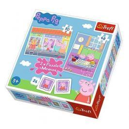 TREFL Dětské puzzle  30 + 48 dílků + pexeso Prasátko Pepa