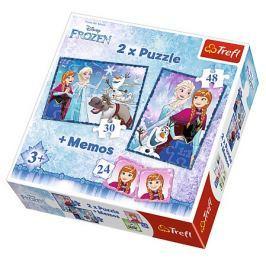 TREFL Dětské puzzle  30 + 48 dílků + pexeso Ledové království