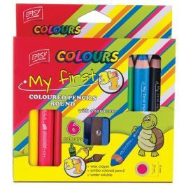 Pastelky 3 v 1 JUMBO pastelka, vodovka, voskovka  s ořezávátkem  6 barev