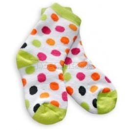Baby ONO Bavlněné  froté ponožky 12m+ - puntíky zelená patička