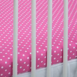 Baby Nellys Bavlněné prostěradlo 140x70cm - tm. růžové/bílé tečky, 140x70
