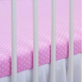 Baby Nellys Bavlněné prostěradlo 120x60cm - sv. růžové/bílé tečky, 140x70