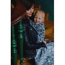 LITTLE FROG Žakárový tkaný šátek na nošení dětí - Black Charm, XL