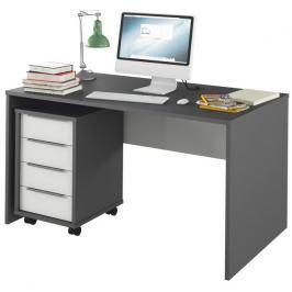 Tempo Kondela PC stůl, grafit / bílá, Rioma TYP 11