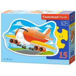 CASTORLAND Obrysové puzzle  15146 Letadlo 15 dílků