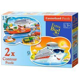 CASTORLAND Dětské puzzle  020102 Dobrodružství na moři 2v1 (9 + 15 dílků)