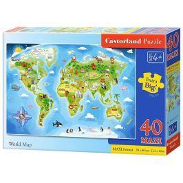 CASTORLAND Podlahové puzzle pro děti Obrázková mapa světa 40 dílků