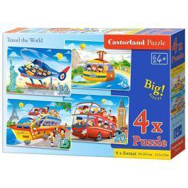 CASTORLAND Puzzle Cesta kolem světa 4v1 (8,12,15,20 dílků)