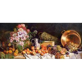 CASTORLAND Panoramatické puzzle Květiny a ovoce na stole 600 dílků