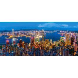 CASTORLAND Panoramatické puzzle Soumrak v Hong Kongu 600 dílků