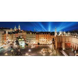 CASTORLAND Panoramatické puzzle Noční Krakovské náměstí 600 dílků