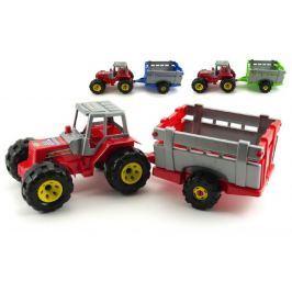 Teddies Traktor s přívěsem plast 51cm v síťce