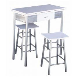 Tempo Kondela Barový set - stůl + 2 židle, stříbrná / bílá, HOMER