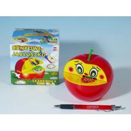 Teddies Pokladnička jablko plast 16x10cm asst 2 barvy v krabičce