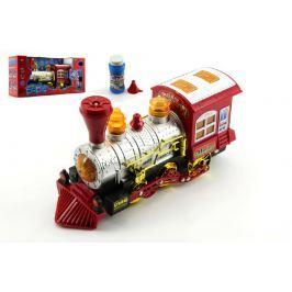 Teddies Lokomotiva/Vlak s bublifukem plast 27cm na baterie se zvukem se světlem v krabic