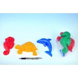 Teddies Formičky Bábovky zvířátka plast na písek 3ks v síťce 10x12x6cm