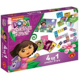 ALEXANDER Soubor her 4v1 Dora průzkumnice (puzzle, karty, pexeso, domino)