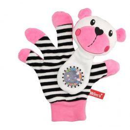 Hencz Toys Edukační hračka maňásek s chrastítkem  - Medvídek - zrcátko -růžový