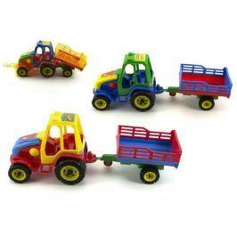 Teddies Traktor s vlekem plast 37cm asst 3 barvy v síťce