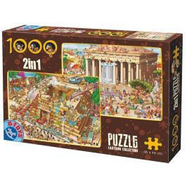 D-TOYS Puzzle Stavba pyramidy a Řecký chrám 2x1000 dílků