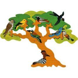 FAUNA Dřevěné puzzle z masivu  Ptačí strom: Stěhovaví ptáci