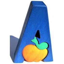 Dřevěné vkládací puzzle z masivu - Abeceda písmenko A jablko