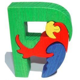 Dřevěné vkládací puzzle z masivu- Abeceda písmeno P papoušek