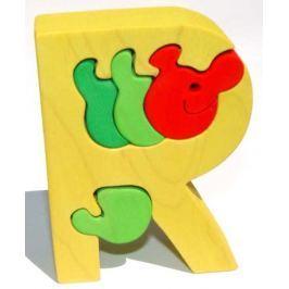 Dřevěné vkládací puzzle z masivu- Abeceda písmenko R červík