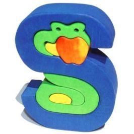 Dřevěné vkládací puzzle z masivu- Abeceda písmenko S had