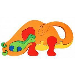 FAUNA Dřevěné puzzle z masivu  Oranžový brontosaurus velký