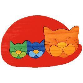 FAUNA Dřevěné puzzle z masivu  Červená kočička s koťátky velká