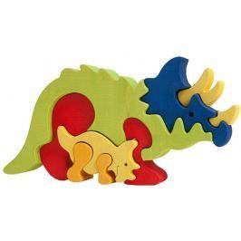 FAUNA Dřevěné puzzle z masivu  Triceratops velký