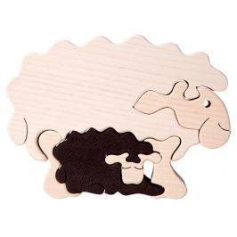 FAUNA Dřevěné puzzle z masivu  Ovečka s mládětem