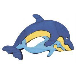 FAUNA Dřevěné puzzle z masivu  Delfín