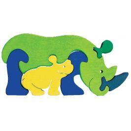 FAUNA Dřevěné puzzle z masivu  Nosorožec s mládětem