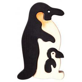 FAUNA Dřevěné puzzle z masivu  Tučňák s mládětem