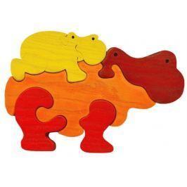 FAUNA Dřevěné puzzle z masivu  Oranžový hroch s mládětem