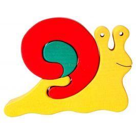 FAUNA Dřevěné puzzle z masivu  Červený šnek