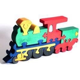 FAUNA Dřevěné puzzle z masivu  Lokomotiva velká