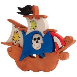 FAUNA Dřevěné puzzle z masivu  Pirátská loď velká