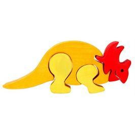 FAUNA Dřevěné puzzle z masivu  Triceratops malý