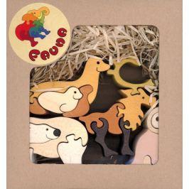 FAUNA Dřevěné puzzle z masivu  Severská zvířata (mix)