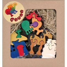 FAUNA Dřevěné puzzle z masivu  Farma (mix)