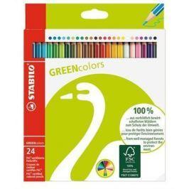 STABILO Barevné pastelky GreenColours, 24ks, šestihranné,
