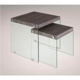 Tempo Kondela Set 2 konferenčních stolků, tvrzené sklo / dřevo, MOHAN